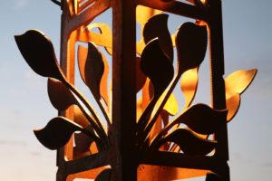"Add sculpture to the landscape! Leaf Cluster detail 9x9x100"" Spire"