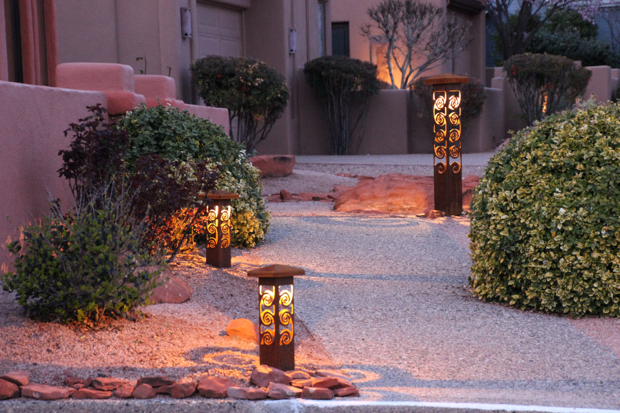 Pathway lighting with swirls 4x4 and featured 6x6x42 Bollard